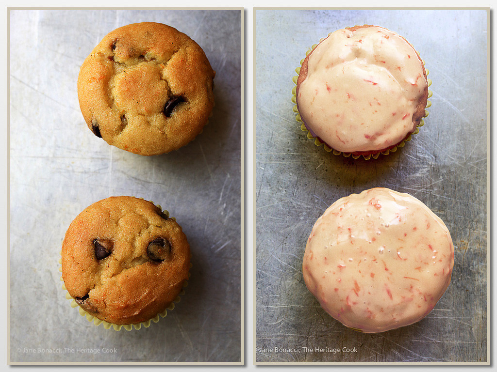 Glazed and unglazed muffins; Sour Cream Orange and Chocolate Chip Muffins (Gluten-Free) SRC; 2016 Jane Bonacci, The Heritage Cook