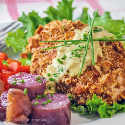 Gluten-Free Pretzel Coated Chicken with Mustard Cream Sauce