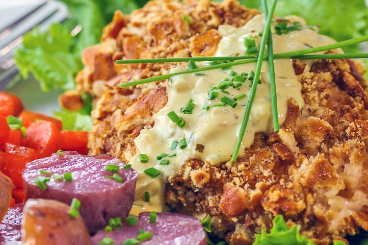 Gratify Foods' Pretzel-Crusted Chicken with Mustard Cream Sauce © 2016 Jane Bonacci, The Heritage Cook