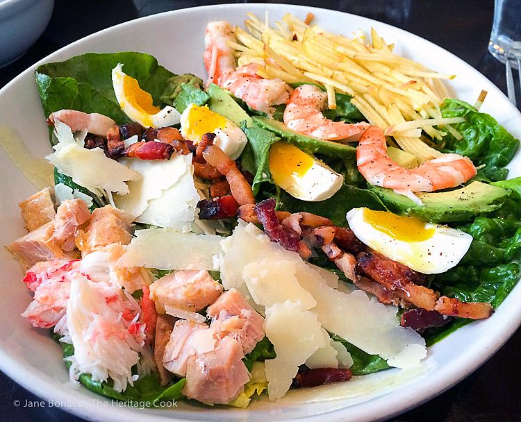 Hungry Cat Cobb Salad; Breakfast Strata and Marina del Rey Morning - Hollywood-SoCal-SantaBarbara 2016; Jane Bonacci, The Heritage Cook.