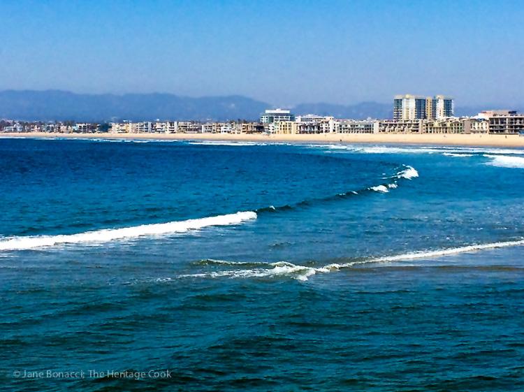 Morning waves at Marina del Rey; Breakfast Strata and Marina del Rey Morning - Hollywood-SoCal-SantaBarbara 2016; Jane Bonacci, The Heritage Cook.