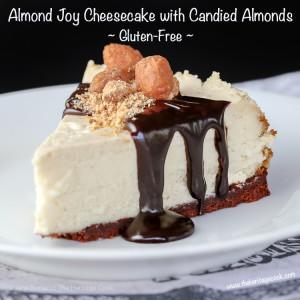 Almond Joy Cheesecake with Candied Almonds, Gluten-Free; © 2016 Jane Bonacci, The Heritage Cook