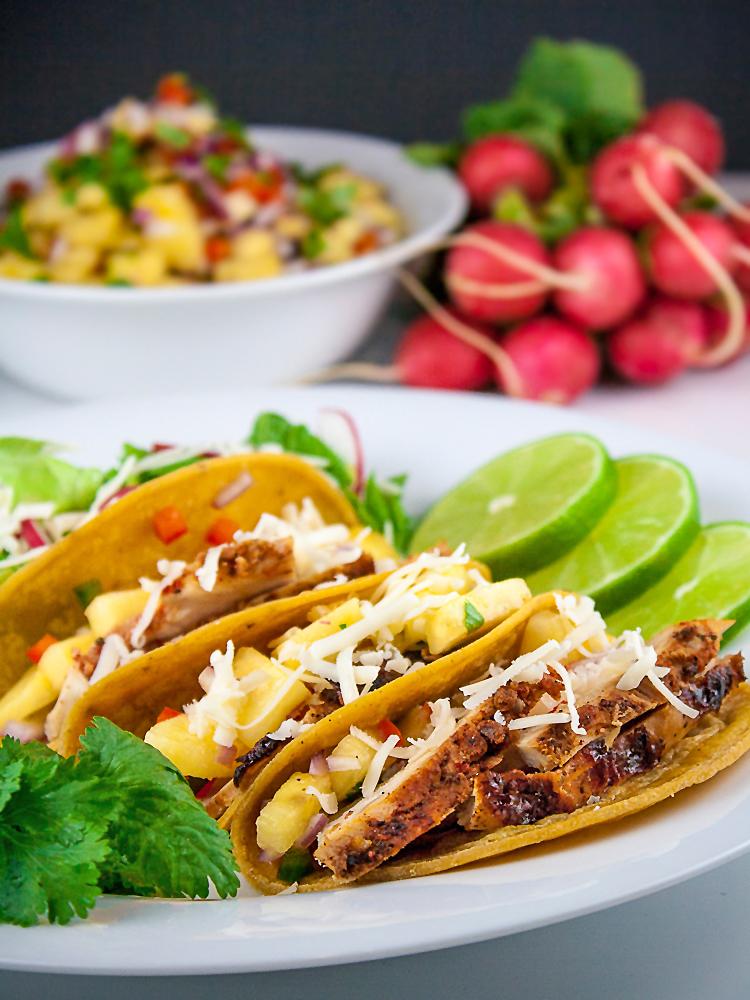 Chicken Tacos al Pastor with Pineapple Salsa; © 2014 Jane Bonacci, The Heritage Cook