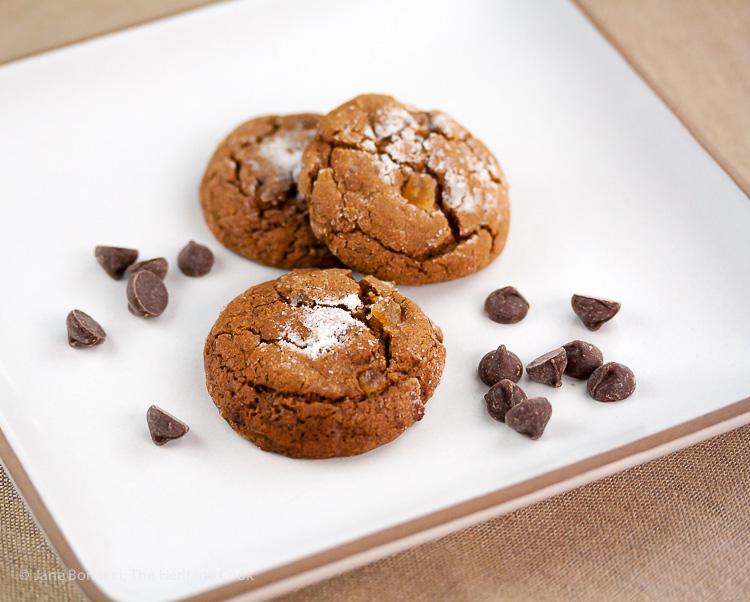 Sugar Coated Chocolate Studded Ginger Cookies; © 2016 Jane Bonacci, The Heritage Cook