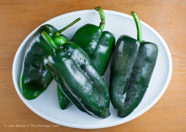 Deep green poblano peppers; Outrageous Chorizo Poblano Cheeseburgers (Gluten-Free); © 2016 Jane Bonacci, The Heritage Cook