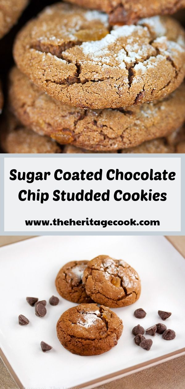 Sugar Coated Chocolate Studded Ginger Cookies; © 2019 Jane Bonacci, The Heritage Cook