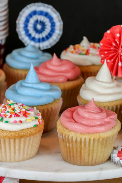 Patriotic Vanilla Cupcakes with White Chocolate Buttercream Frosting (Gluten-Free)
