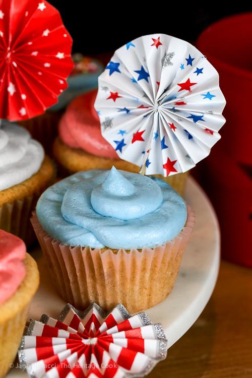 Patriotic Vanilla Cupcakes with White Chocolate Buttercream Frosting; © 2016 Jane Bonacci, The Heritage Cook.
