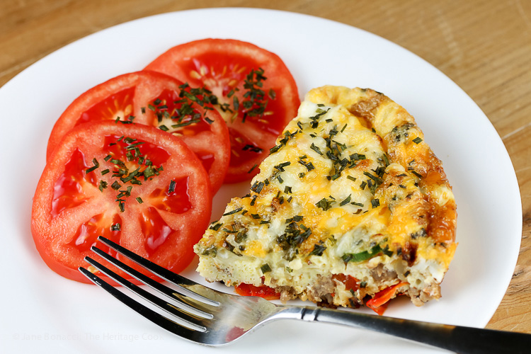 Cheesy Breakfast Frittata with Gourmet Garden herbs; © 2016 Jane Bonacci, The Heritage Cook