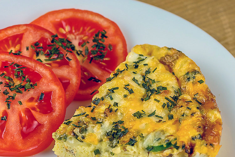 Cheesy Breakfast Frittata with Gourmet Garden herbs; © 2016 Jane Bonacci, The Heritage Cook