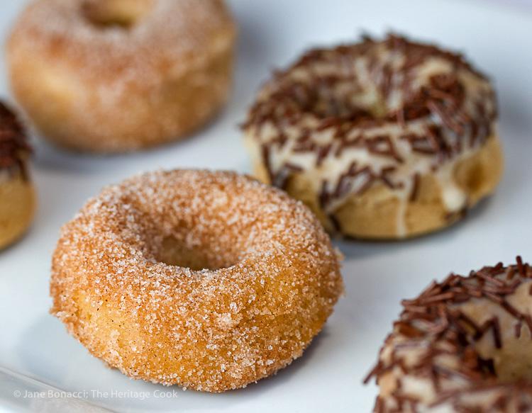 Cinnamon-sugar, The Artist's favorite! Gluten Free Mini Baked Doughnuts © 2016 Jane Bonacci, The Heritage Cook