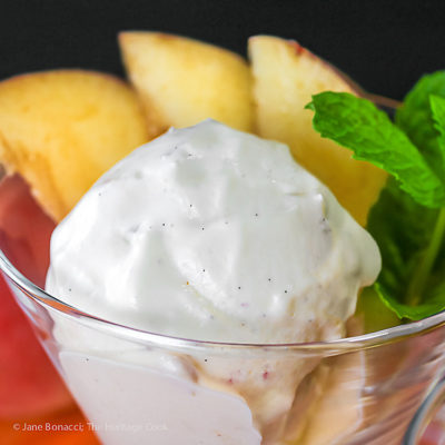 No Churn Fresh Peach Ginger Ice Cream