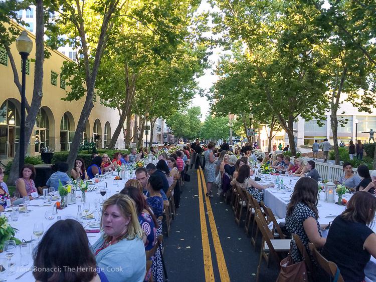 Length of tables for final dinner; IFBC 2016 Sacramento; Jane Bonacci, The Heritage Cook