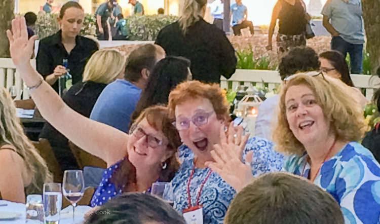 Friends at final dinner; IFBC 2016 Sacramento; Jane Bonacci, The Heritage Cook