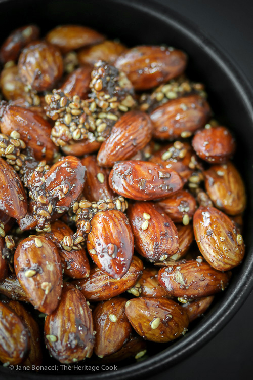 Hot from the oven; Gluten Free Roasted Almonds with Chocolate Dukkah seasoning; 2016 Jane Bonacci, The Heritage Cook