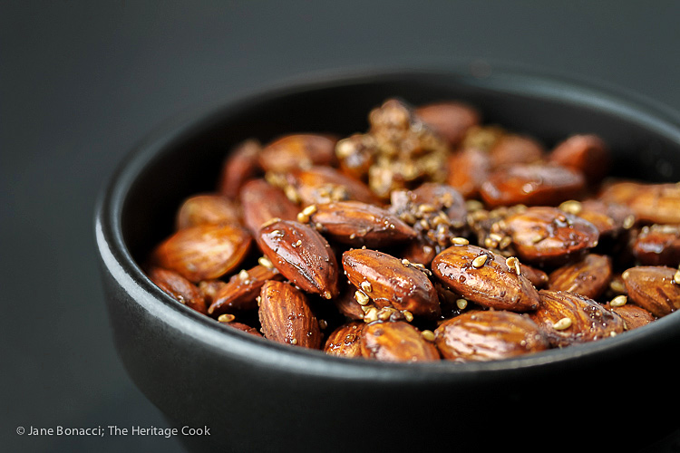 Gluten Free Roasted Almonds with Chocolate Dukkah seasoning; 2016 Jane Bonacci, The Heritage Cook