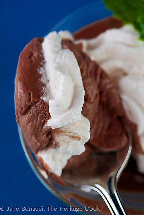 Whipped cream and mousse in every bite; The Easiest Chocolate Mousse for Chocolate Monday (Gluten-Free); 2016 Jane Bonacci, The Heritage Cook