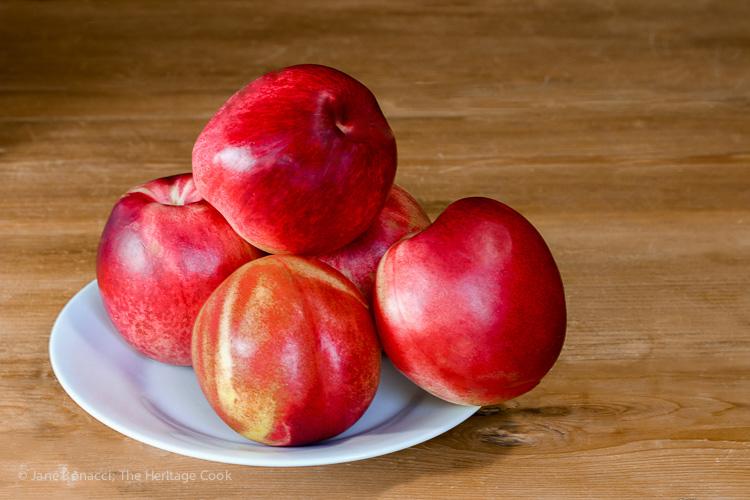 Plate of fresh ripe nectarines; Nectarine and Berry Cinnamon Crisps with Gratify Foods, Gluten Free Recipe; © 2016 Jane Bonacci, The Heritage Cook