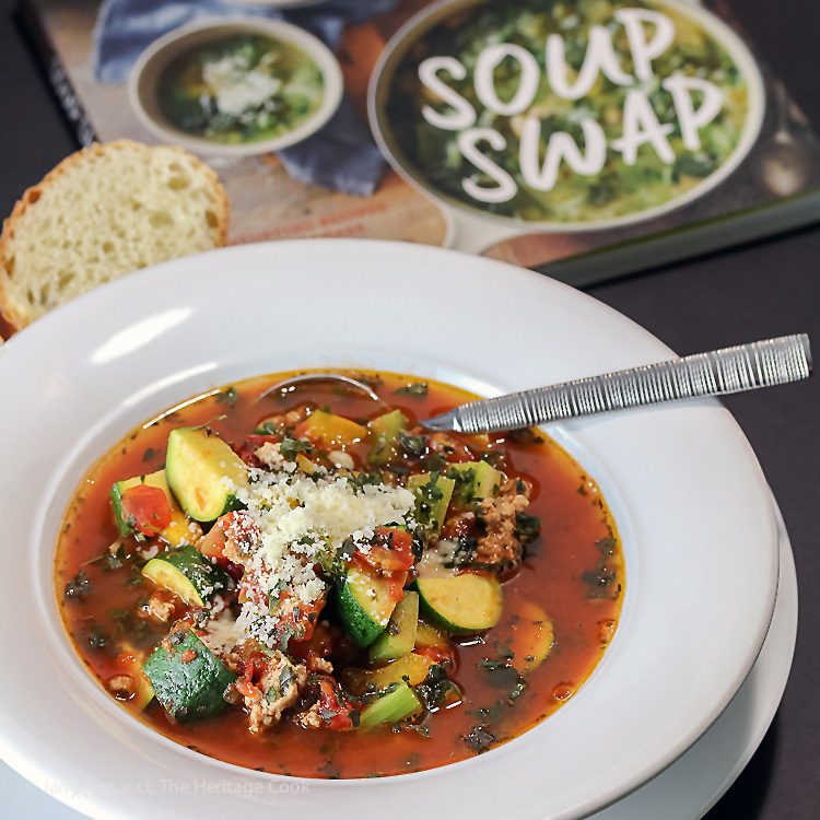 Italian Sausage Zucchini Soup for #SoupSwapParty; © 2016 Jane Bonacci, The Heritage Cook. All rights reserved.