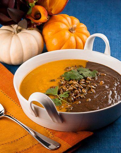 Halloween Orange & Black Soup with Dukkah Pumpkin Seeds (Gluten-Free)