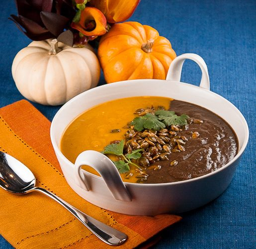 Halloween Orange & Black Soup with Dukkah Pumpkin Seeds (Gluten-Free)