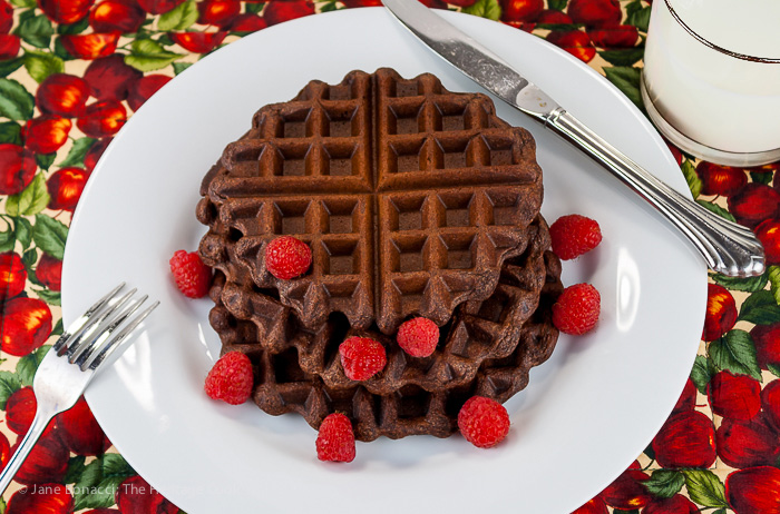 Gluten-Free Chocolate Waffles with Chocolate Whipped Cream; 2014 Jane Bonacci, The Heritage Cook. All rights reserved.