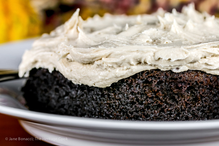 Depression Era Chocolate Cake with Caramel Maple Frosting - Gluten-Free, Egg-Free, Dairy-Free (without frosting); © 2016 Jane Bonacci, The Heritage Cook