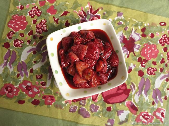 Bowl of roasted strawberries; Banana Chocolate Chip Muffins with Roasted Strawberries; © Beth Lee 2016