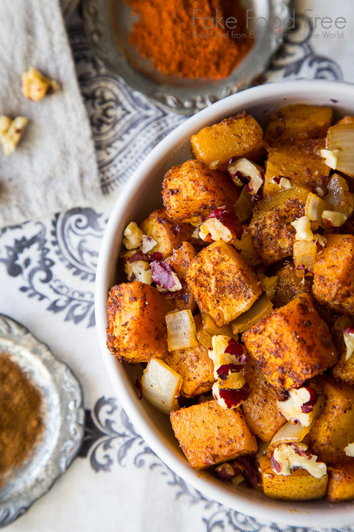 Roasted Butternut Squash with Pears and Red Walnuts © Lori Rice, Fake Food Free
