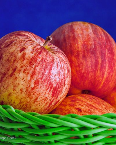Basket of Gravenstein Apples; Sweet Endings Apple Desserts Round Up; ©2016 Jane Bonacci, The Heritage Cook
