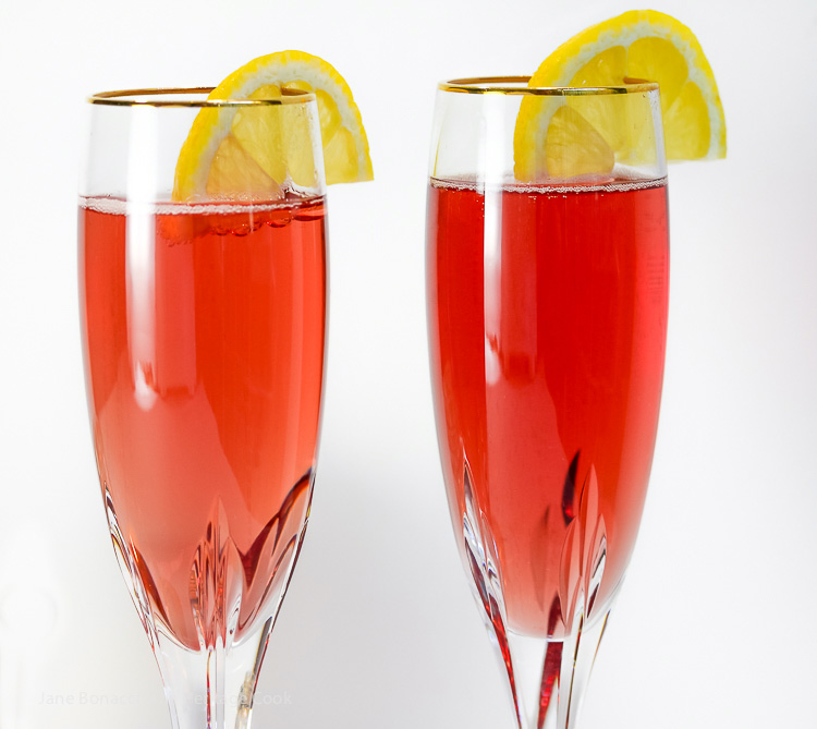 Kir Royale Champagne Cocktails from The Heritage Cook; 75 New Year's Eve Party Recipes