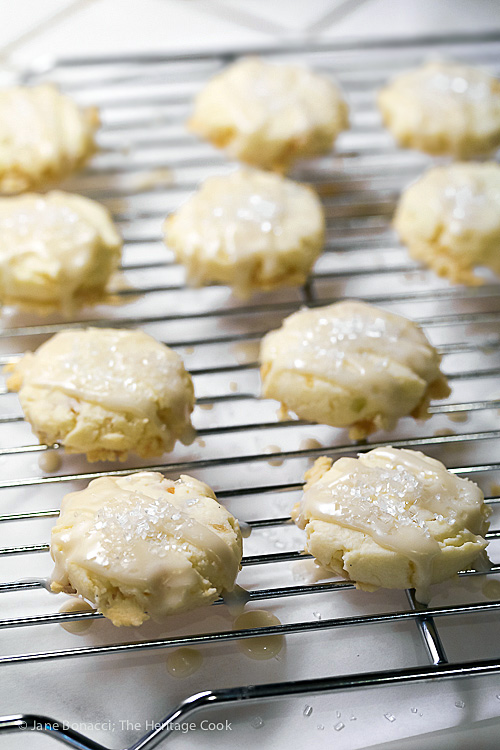 Freshly glazed warm cookies; Italian Panettone Shortbread Cookies with White-Chocolate/Citrus Glaze (Gluten-Free); © 2017 Jane Bonacci, The Heritage Cook