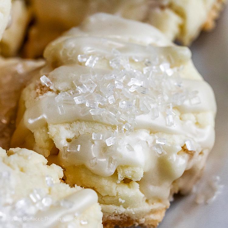 Italian Panettone Shortbread Cookies with White-Chocolate/Citrus Glaze (Gluten-Free); © 2017 Jane Bonacci, The Heritage Cook