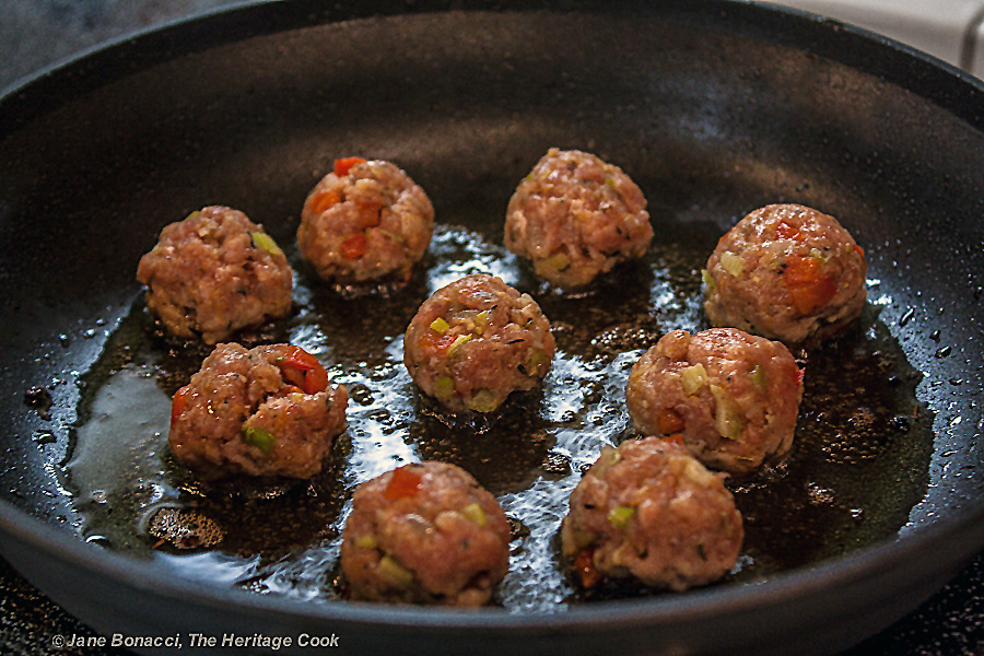 Fry then finish them in the sauce; Gluten Free Italian Sausage Meatballs with Homemade Marinara Sauce © 2017 Jane Bonacci, The Heritage Cook. All rights reserved.
