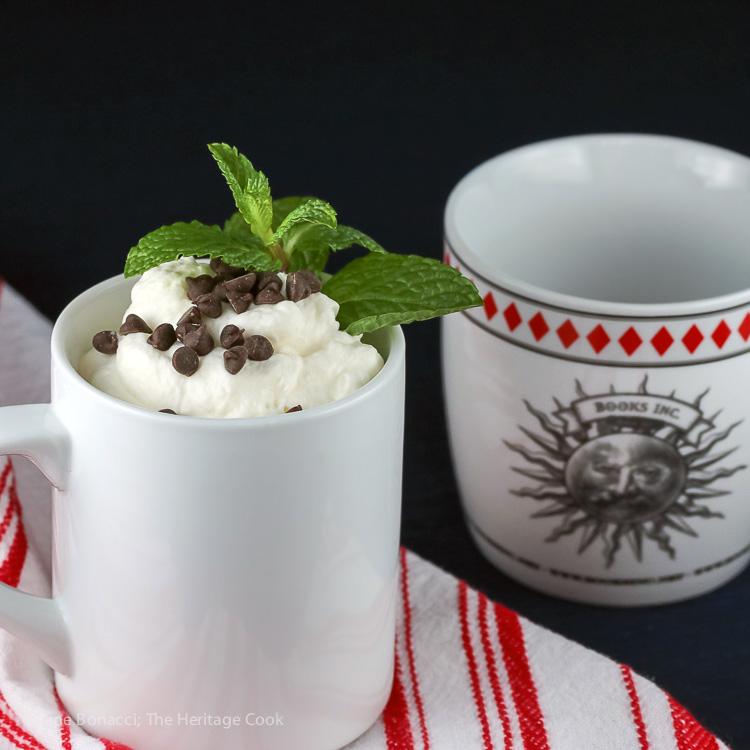 1 Minute Gluten Free Chocolate Chip Chocolate Cake in a Mug; © 2017 Jane Bonacci, The Heritage Cook