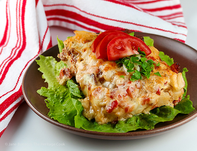 Easy Cheesy Potatoes O'Brien and Bacon Casserole © 2017 Jane Bonacci, The Heritage Cook