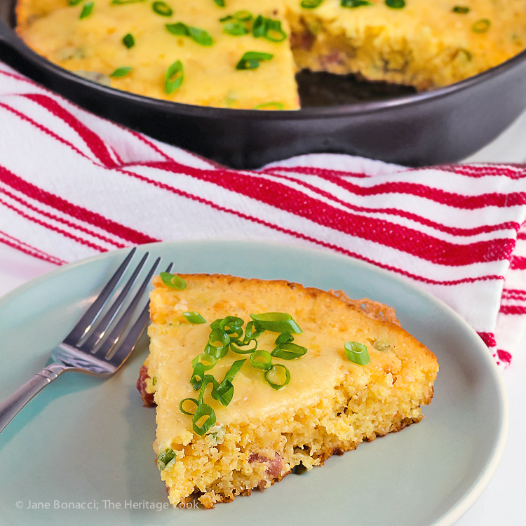 Cheesy Skillet Cornbread with Cheddar and Tasso Ham © 2017 Jane Bonacci, The Heritage Cook