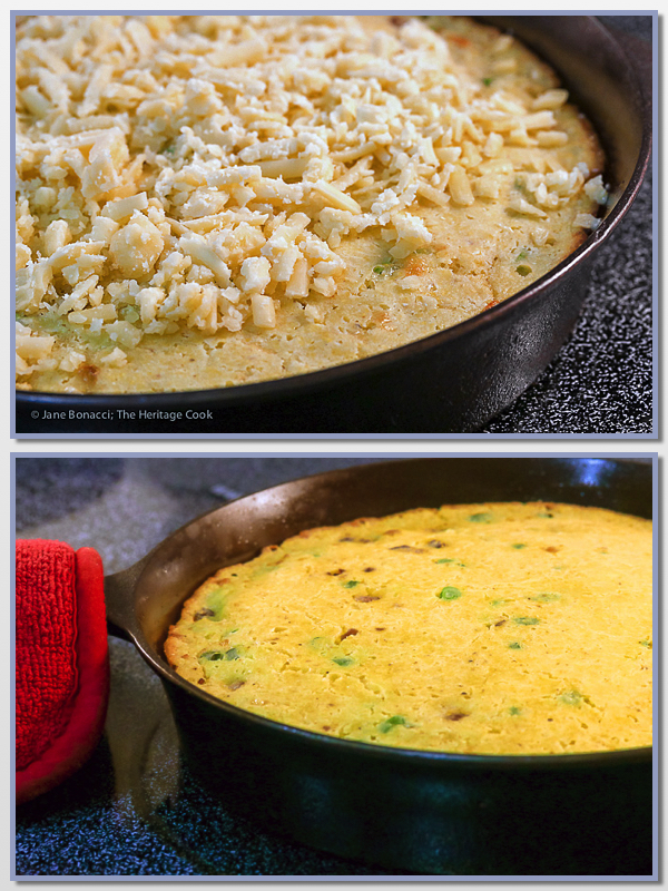 collage - hot from the oven & w crumbled cheese on top; Cheesy Skillet Cornbread with Cheddar and Tasso Ham © 2017 Jane Bonacci, The Heritage Cook