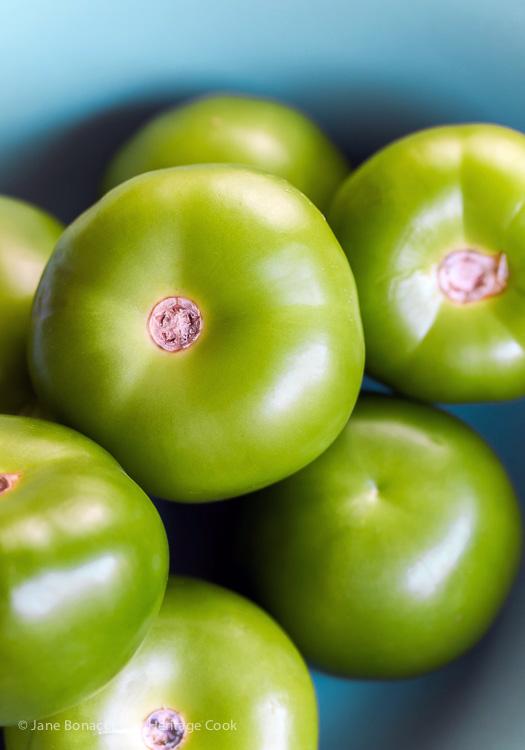 Fresh tomatillos; Pork Carnitas with Tomatillo Salsa (Gluten Free) © 2017 Jane Bonacci, The Heritage Cook