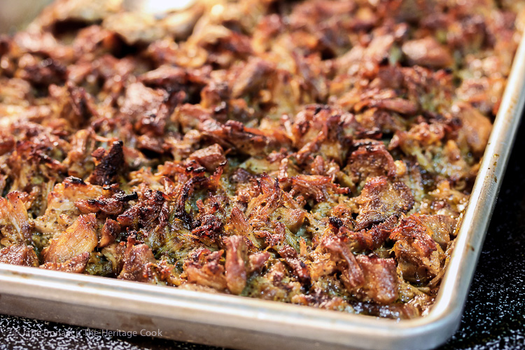 Crispy & succulent pork straight from the broiler: Pork Carnitas with Tomatillo Salsa (Gluten Free) © 2017 Jane Bonacci, The Heritage Cook