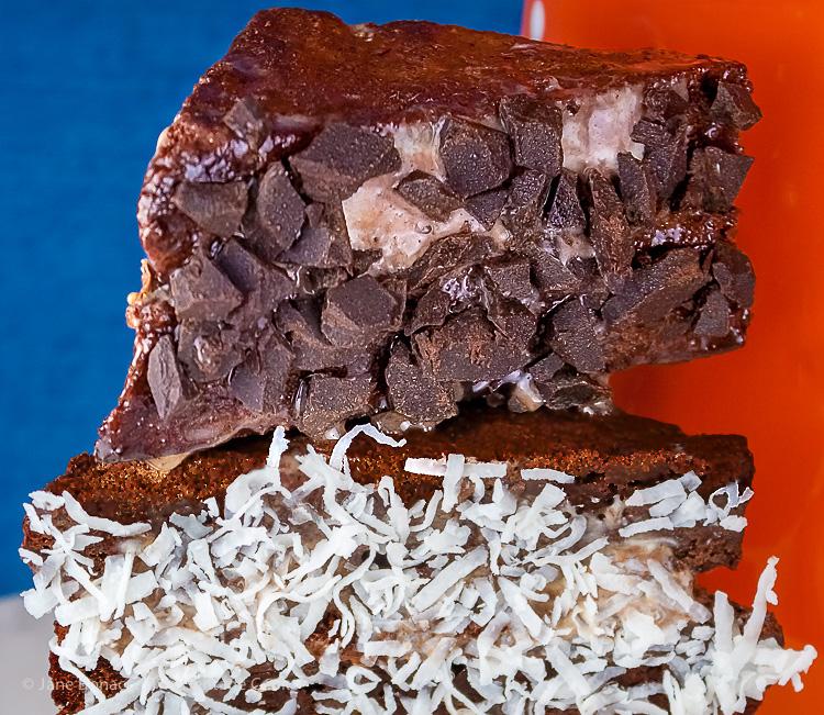 candies coat sides of sandwiches; Port Brownie Ice Cream Sandwiches © 2017 Jane Bonacci, The Heritage Cook