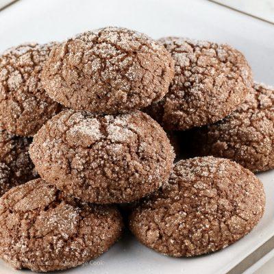 Dark Chocolate Bourbon Crackle Cookies (Gluten Free)