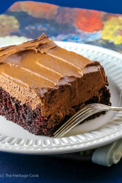 Chocolate Sheet Cake with Chocolate Caramel Frosting © 2017 Jane Bonacci, The Heritage Cook
