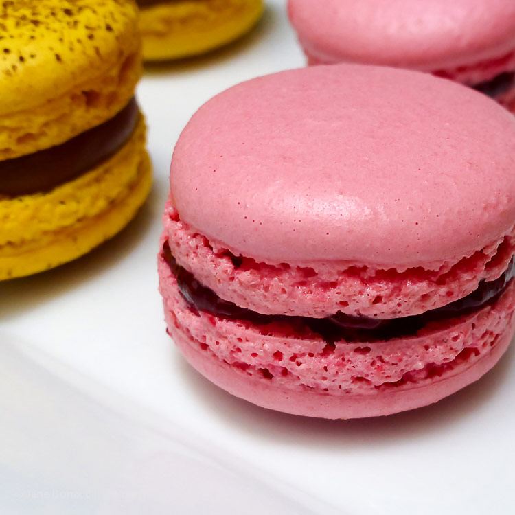 perfect macaron with raspberry filling; Cooking Classes in Paris at Cook'n with Class cooking school © 2017 Jane Bonacci, The Heritage Cook