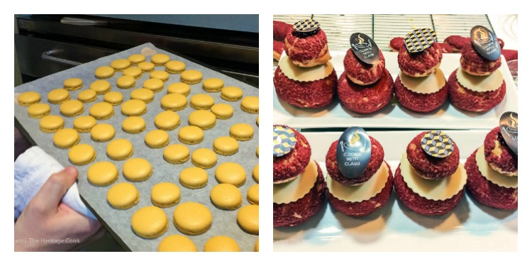 Tray of baked macarons & pate a choux pastries; Cooking Classes in Paris at Cook'n with Class cooking school © 2017 Jane Bonacci, The Heritage Cook