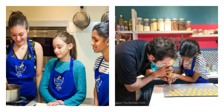 Girls making caramel filling; learning how to pipe macarons