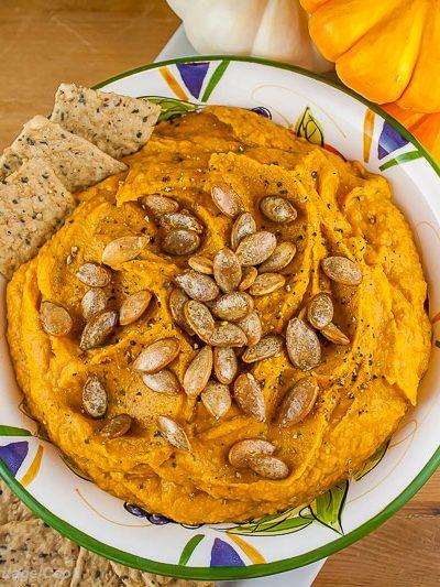 Pumpkin Hummus with Seasoned Pumpkin Seeds Gluten Free © 2017 Jane Bonacci, The Heritage Cook