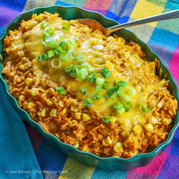 Chicken Enchilada Rice Casserole (Gluten-Free) © 2017 Jane Bonacci, The Heritage Cook