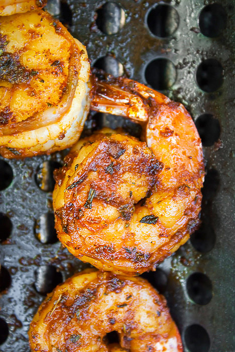 Close up of grilling shrimp; Chipotle Orange Shrimp Cocktail for Valentine's Day © 2018 Jane Bonacci, The Heritage Cook