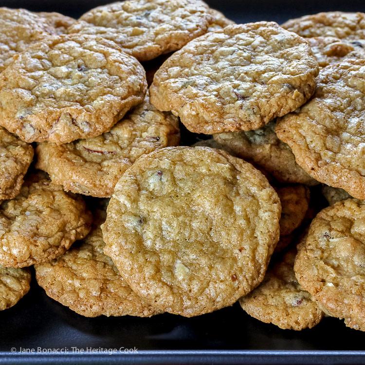 Close up of platter of cookies; Chocolate Chip Almond Joy Cookies © 2018 Jane Bonacci, The Heritage Cook